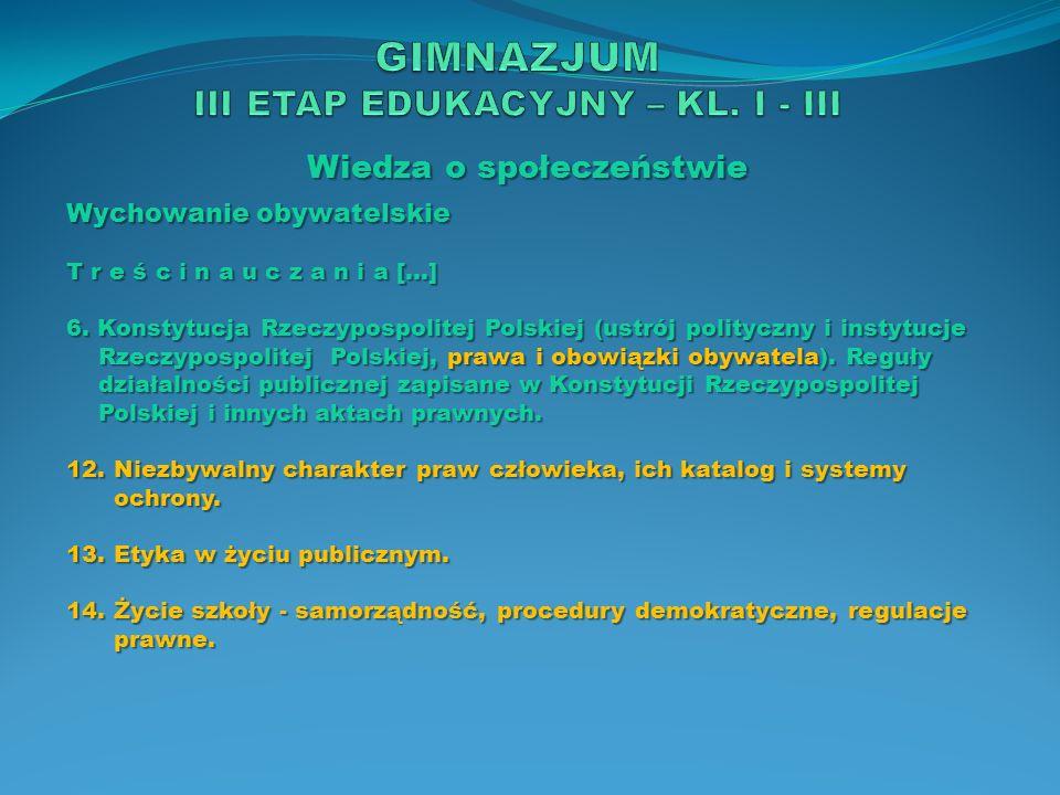 Wiedza o społeczeństwie Wychowanie obywatelskie T r e ś c i n a u c z a n i a […] 6. Konstytucja Rzeczypospolitej Polskiej (ustrój polityczny i instyt