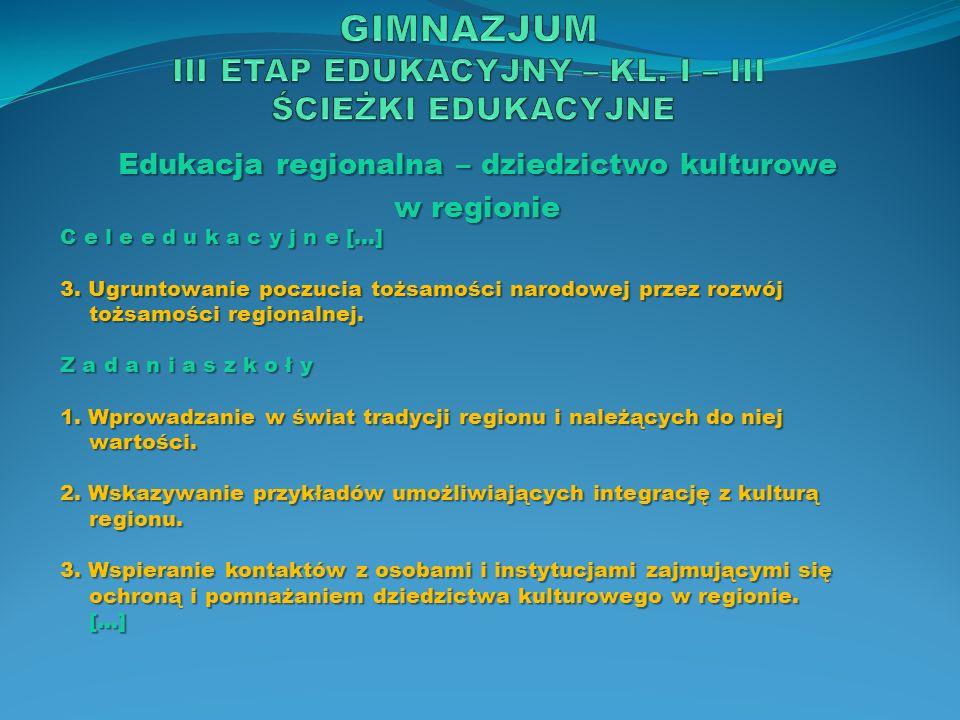 Edukacja regionalna – dziedzictwo kulturowe w regionie C e l e e d u k a c y j n e […] 3. Ugruntowanie poczucia tożsamości narodowej przez rozwój tożs