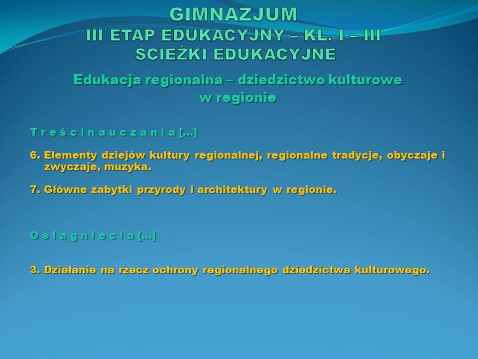 Edukacja regionalna – dziedzictwo kulturowe w regionie T r e ś c i n a u c z a n i a […] 6. Elementy dziejów kultury regionalnej, regionalne tradycje,