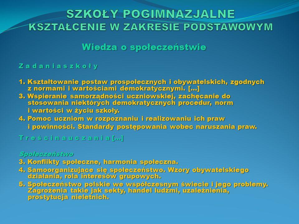 Wiedza o społeczeństwie Z a d a n i a s z k o ł y 1. Kształtowanie postaw prospołecznych i obywatelskich, zgodnych z normami i wartościami demokratycz
