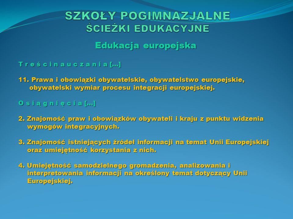 Edukacja europejska T r e ś c i n a u c z a n i a […] 11. Prawa i obowiązki obywatelskie, obywatelstwo europejskie, obywatelski wymiar procesu integra