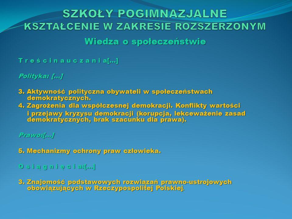 Wiedza o społeczeństwie T r e ś c i n a u c z a n i a[…] Polityka: […] 3. Aktywność polityczna obywateli w społeczeństwach demokratycznych. 4. Zagroże