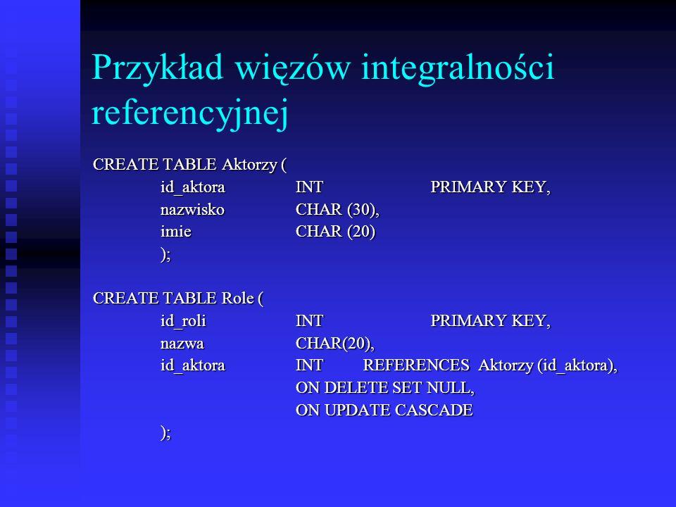 Przykład więzów integralności referencyjnej CREATE TABLE Aktorzy ( id_aktora INT PRIMARY KEY, nazwisko CHAR (30), imie CHAR (20) ); CREATE TABLE Role