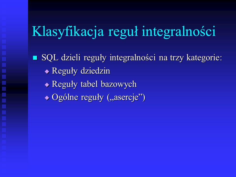Klasyfikacja reguł integralności SQL dzieli reguły integralności na trzy kategorie: SQL dzieli reguły integralności na trzy kategorie: Reguły dziedzin