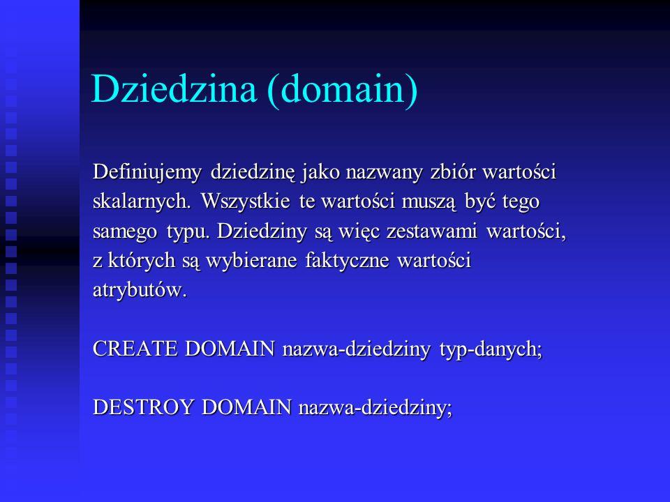 Dziedzina (domain) Definiujemy dziedzinę jako nazwany zbiór wartości skalarnych. Wszystkie te wartości muszą być tego samego typu. Dziedziny są więc z
