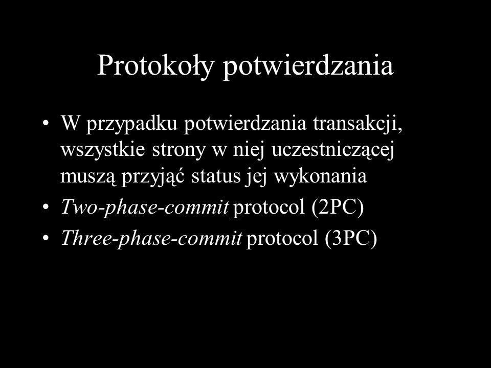 Protokoły potwierdzania W przypadku potwierdzania transakcji, wszystkie strony w niej uczestniczącej muszą przyjąć status jej wykonania Two-phase-comm