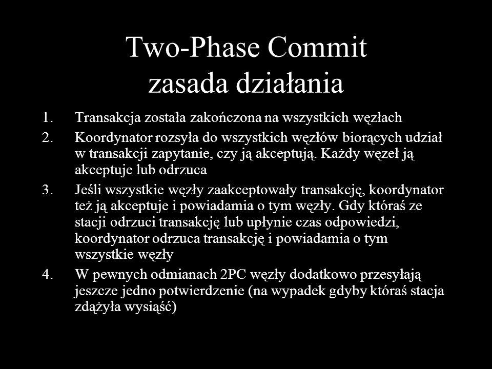 Two-Phase Commit zasada działania 1.Transakcja została zakończona na wszystkich węzłach 2.Koordynator rozsyła do wszystkich węzłów biorących udział w