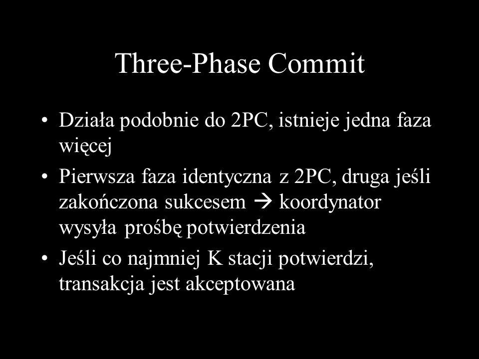 Three-Phase Commit Działa podobnie do 2PC, istnieje jedna faza więcej Pierwsza faza identyczna z 2PC, druga jeśli zakończona sukcesem koordynator wysy