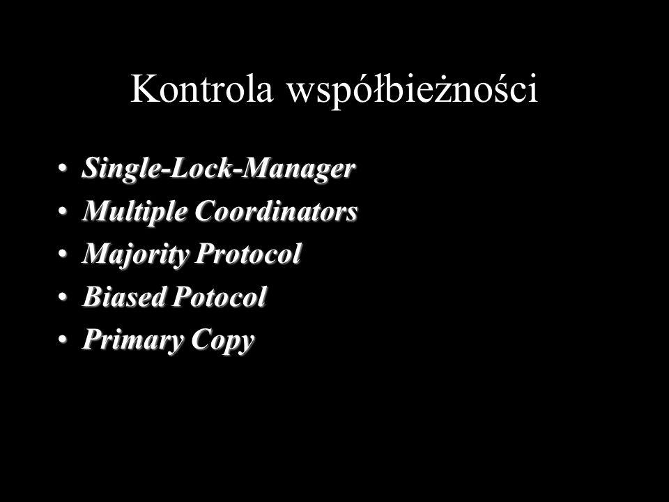 Kontrola współbieżności Single-Lock-ManagerSingle-Lock-Manager Multiple CoordinatorsMultiple Coordinators Majority ProtocolMajority Protocol Biased Po