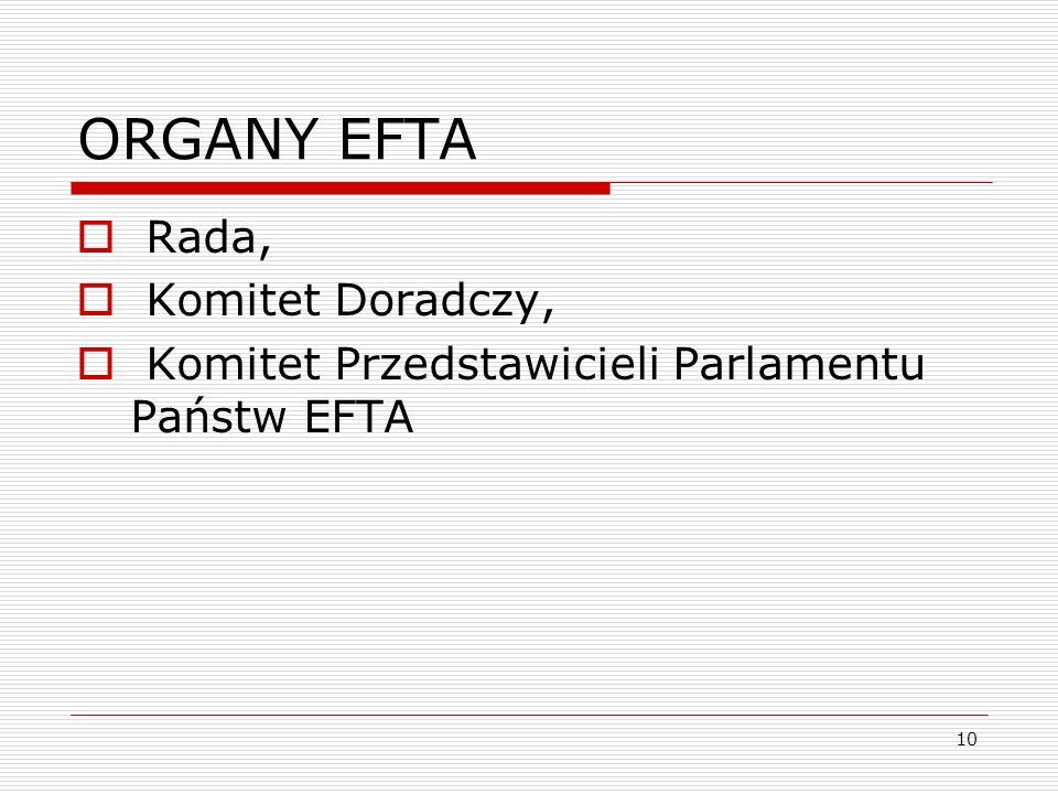 10 ORGANY EFTA Rada, Komitet Doradczy, Komitet Przedstawicieli Parlamentu Państw EFTA