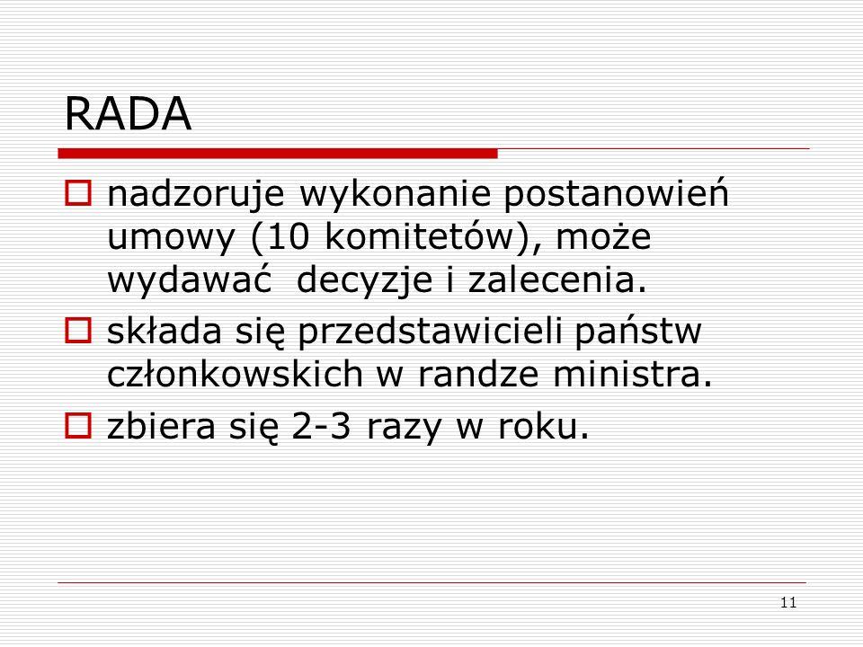 11 RADA nadzoruje wykonanie postanowień umowy (10 komitetów), może wydawać decyzje i zalecenia. składa się przedstawicieli państw członkowskich w rand