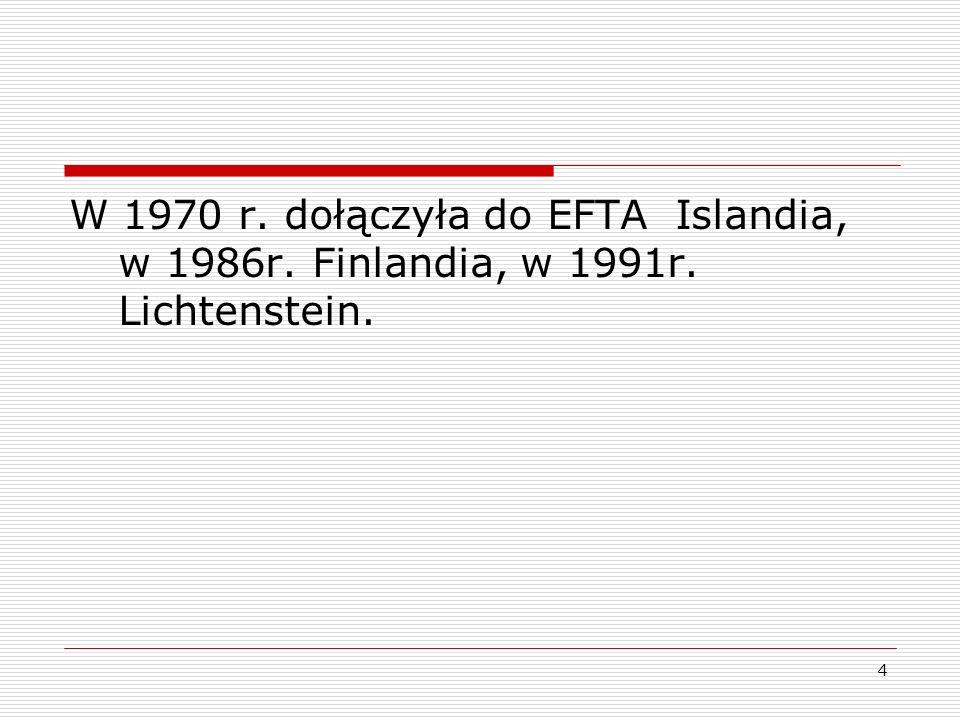 4 W 1970 r. dołączyła do EFTA Islandia, w 1986r. Finlandia, w 1991r. Lichtenstein.