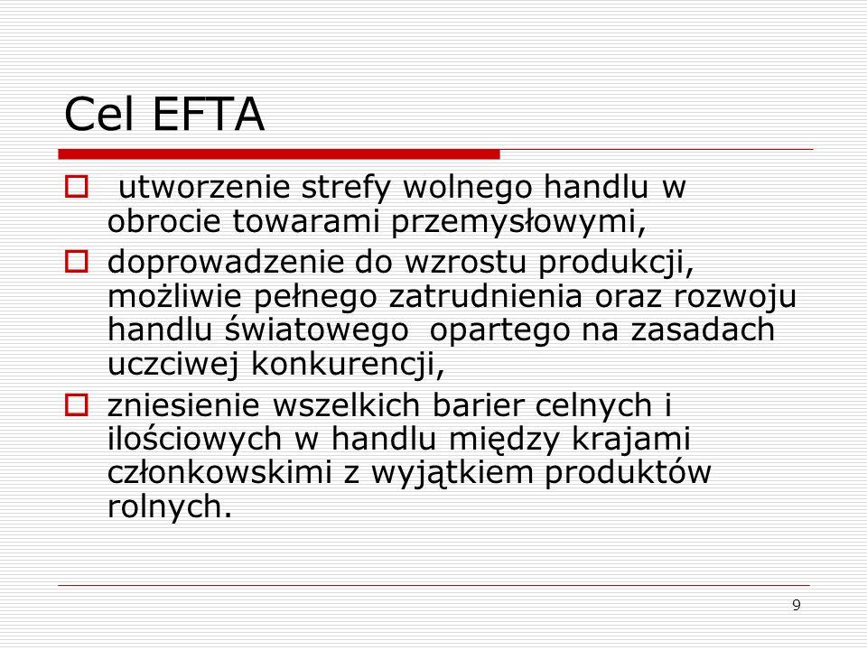 9 Cel EFTA utworzenie strefy wolnego handlu w obrocie towarami przemysłowymi, doprowadzenie do wzrostu produkcji, możliwie pełnego zatrudnienia oraz r
