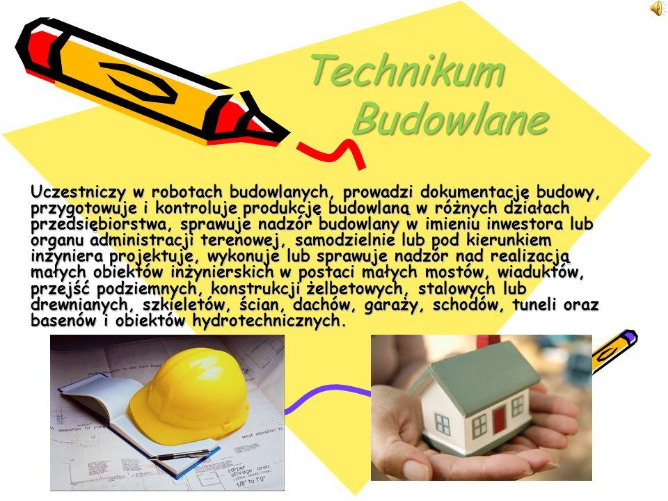 Analizowanie dokumentacji technicznej i organizacyjnej robót budowlanych Wykonywanie rysunków budowlanych Określanie właściwości materiałów budowlanych i prawidłowego ich stosowania Wykonywanie pomiarów niezbędnych przy prowadzeniu robót budowlanych Określanie gruntów budowlanych, ich właściwości i zastosowania do celów fundamentowych Kierowanie pracą brygady (brygad) roboczej i robotami w obiekcie, organizowanie przebiegu tych prac Projektowanie nieskomplikowanych elementów konstrukcyjnych na podstawie obliczeń oraz wykonywanie obliczeń budowlanych elementów statycznych Organizowanie pracy podwykonawców na budowie Kształtowanie optymalnych warunków pracy na budowie z uwzględnieniem prawa pracy i przepisów bhp Organizowanie pracy polowego laboratorium materiałów budowlanych Zasady zawodowe