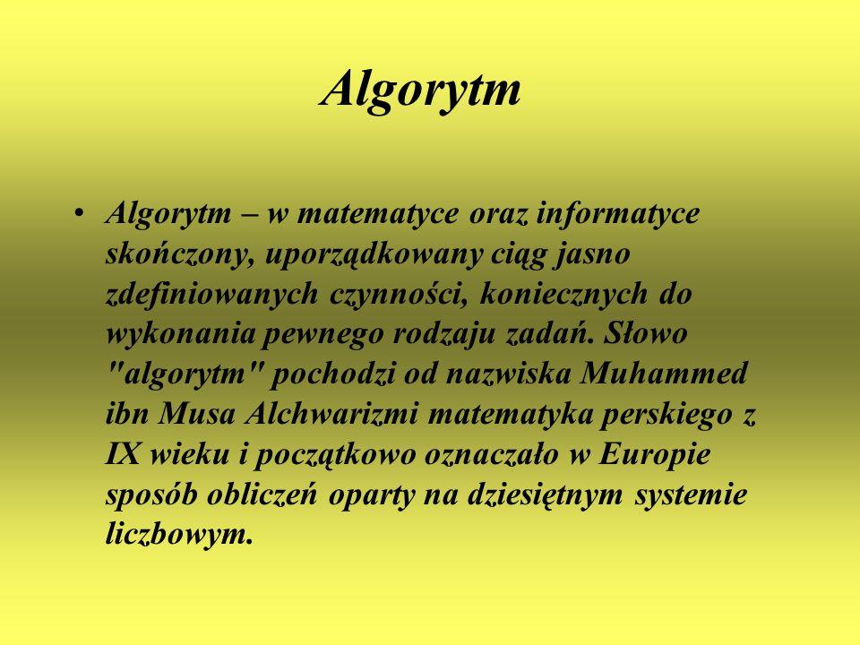 Algorytm Algorytm – w matematyce oraz informatyce skończony, uporządkowany ciąg jasno zdefiniowanych czynności, koniecznych do wykonania pewnego rodza