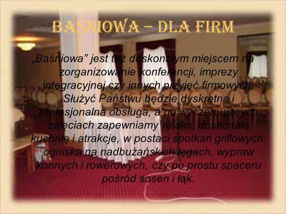 BA Ś NIOWA – dla Firm Baśniowa jest też doskonałym miejscem na zorganizowanie konferencji, imprezy integracyjnej czy innych przyjęć firmowych. Służyć