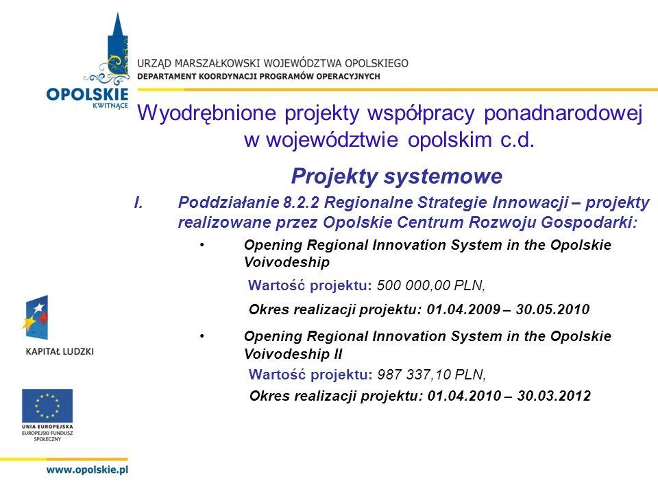 Projekty systemowe I.Poddziałanie 8.2.2 Regionalne Strategie Innowacji – projekty realizowane przez Opolskie Centrum Rozwoju Gospodarki: Opening Regio