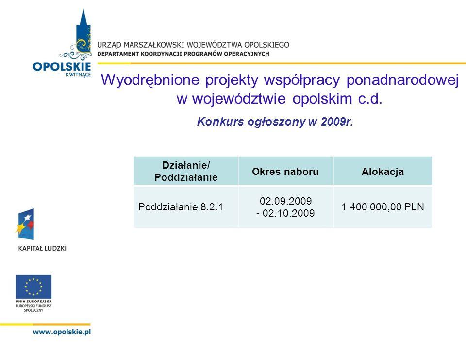 Działanie/ Poddziałanie Liczba / wartość wniosków złożonych Liczba / wartość wniosków po ocenie formalnej Liczba / wartość wniosków zaakceptowanych do realizacji Liczba / wartość umów Poddziałanie 8.2.1 1 1 187 378,00 1 1 187 378,00 1 1 168 878,00 1 1 168 878,00 Wyniki konkursu ogłoszonego w 2009r.