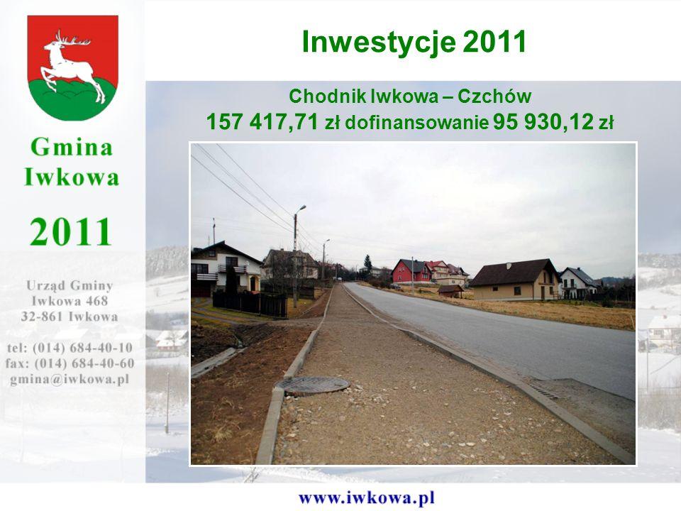 Chodnik Iwkowa – Czchów 157 417,71 zł dofinansowanie 95 930,12 zł Inwestycje 2011