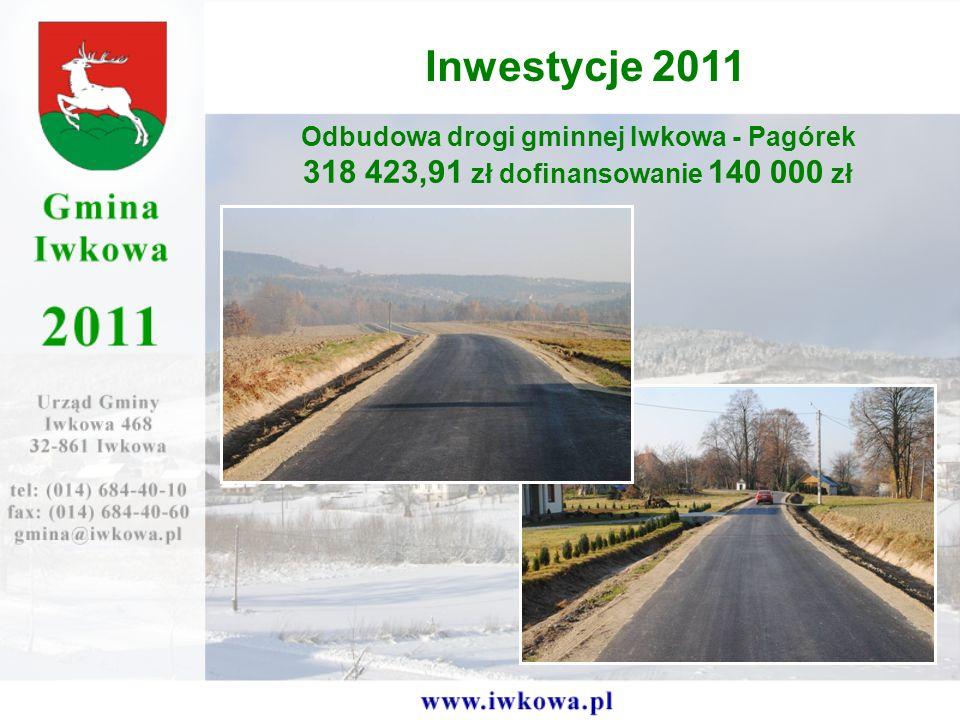 Odbudowa drogi gminnej Iwkowa - Pagórek 318 423,91 zł dofinansowanie 140 000 zł Inwestycje 2011