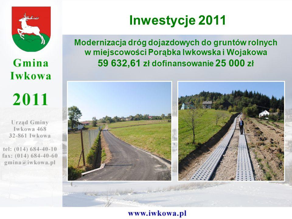 Modernizacja dróg dojazdowych do gruntów rolnych w miejscowości Porąbka Iwkowska i Wojakowa 59 632,61 zł dofinansowanie 25 000 zł Inwestycje 2011