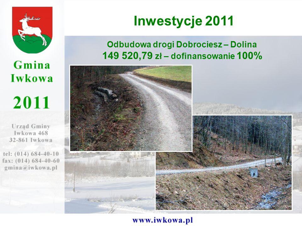 Odbudowa drogi Dobrociesz – Dolina 149 520,79 zł – dofinansowanie 100% Inwestycje 2011