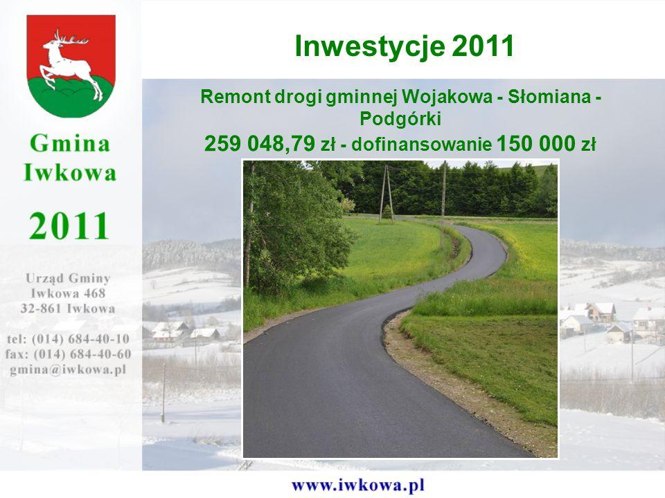 Remont drogi gminnej Wojakowa - Słomiana - Podgórki 259 048,79 zł - dofinansowanie 150 000 zł Inwestycje 2011