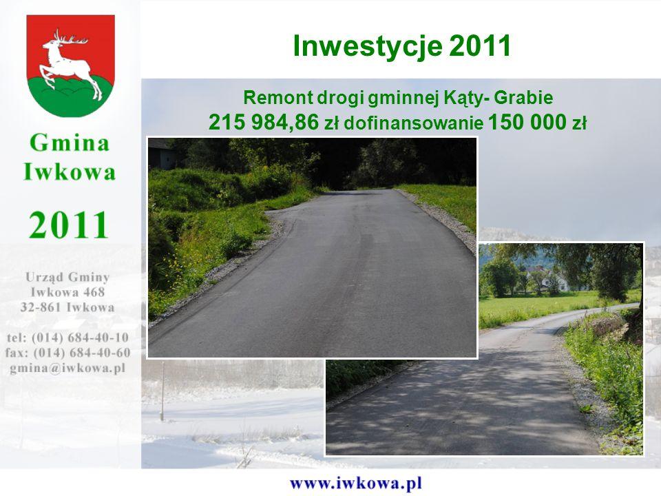 Remont drogi gminnej Kąty- Grabie 215 984,86 zł dofinansowanie 150 000 zł Inwestycje 2011