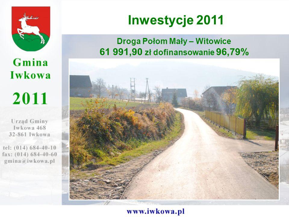 Droga Połom Mały – Witowice 61 991,90 zł dofinansowanie 96,79% Inwestycje 2011