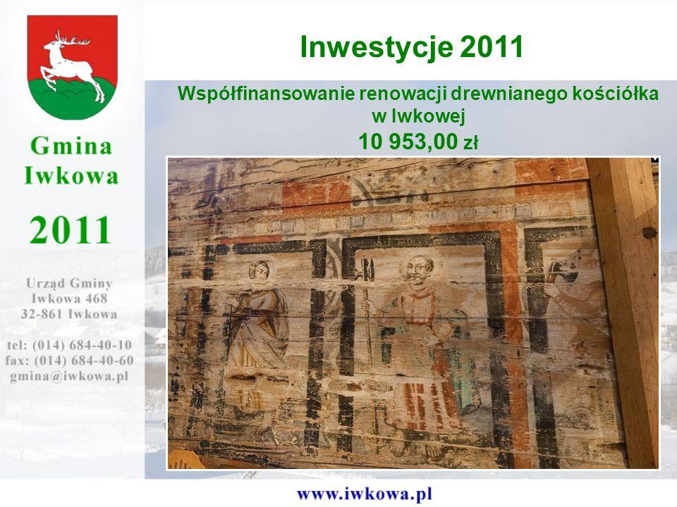 Współfinansowanie renowacji drewnianego kościółka w Iwkowej 10 953,00 zł Inwestycje 2011
