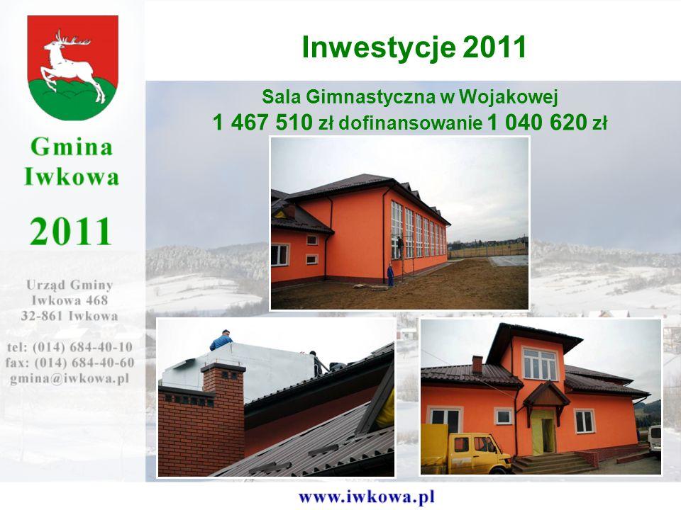 Sala Gimnastyczna w Wojakowej 1 467 510 zł dofinansowanie 1 040 620 zł Inwestycje 2011