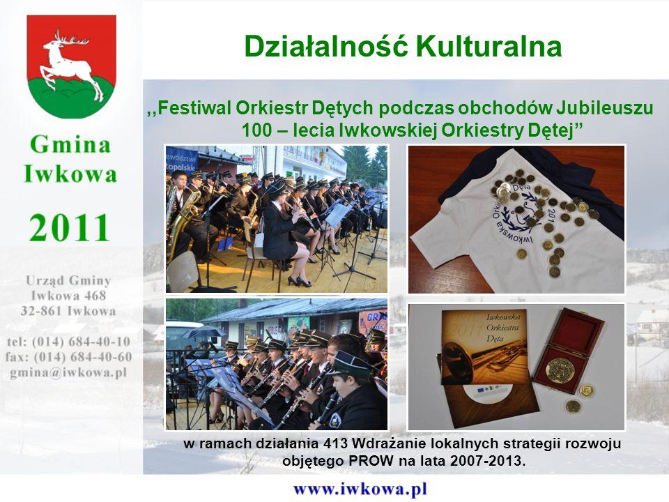 ,,Festiwal Orkiestr Dętych podczas obchodów Jubileuszu 100 – lecia Iwkowskiej Orkiestry Dętej Działalność Kulturalna w ramach działania 413 Wdrażanie lokalnych strategii rozwoju objętego PROW na lata 2007-2013.