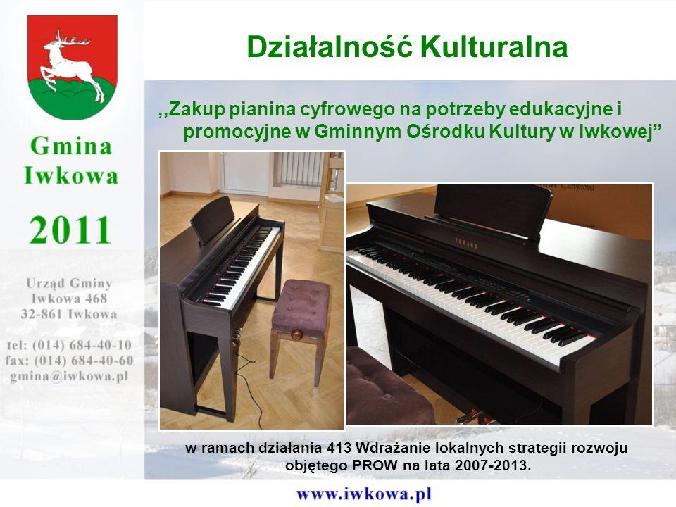 ,,Zakup pianina cyfrowego na potrzeby edukacyjne i promocyjne w Gminnym Ośrodku Kultury w Iwkowej Działalność Kulturalna w ramach działania 413 Wdrażanie lokalnych strategii rozwoju objętego PROW na lata 2007-2013.