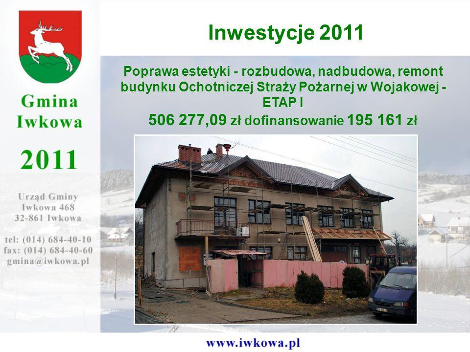 Poprawa estetyki - rozbudowa, nadbudowa, remont budynku Ochotniczej Straży Pożarnej w Wojakowej - ETAP I 506 277,09 zł dofinansowanie 195 161 zł Inwestycje 2011