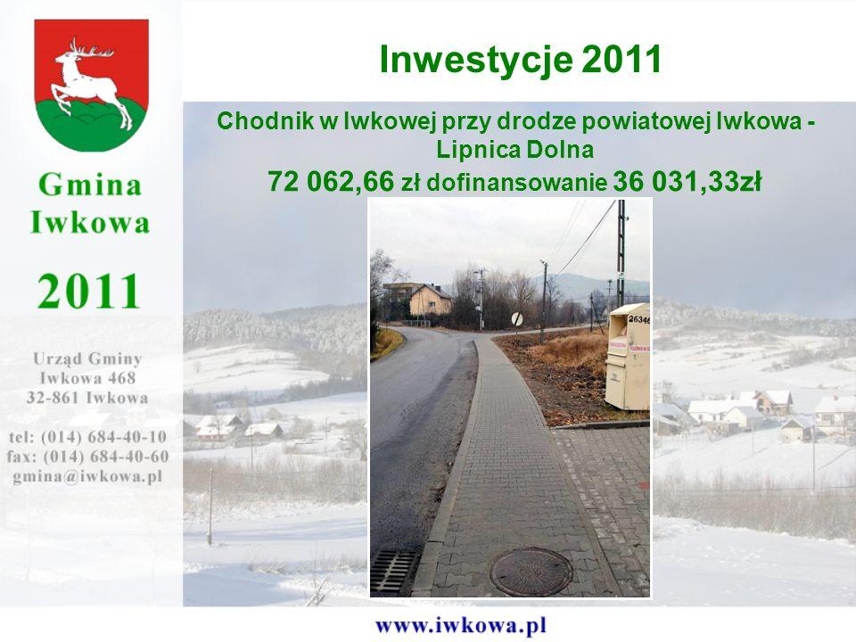 Chodnik w Iwkowej przy drodze powiatowej Iwkowa - Lipnica Dolna 72 062,66 zł dofinansowanie 36 031,33zł Inwestycje 2011