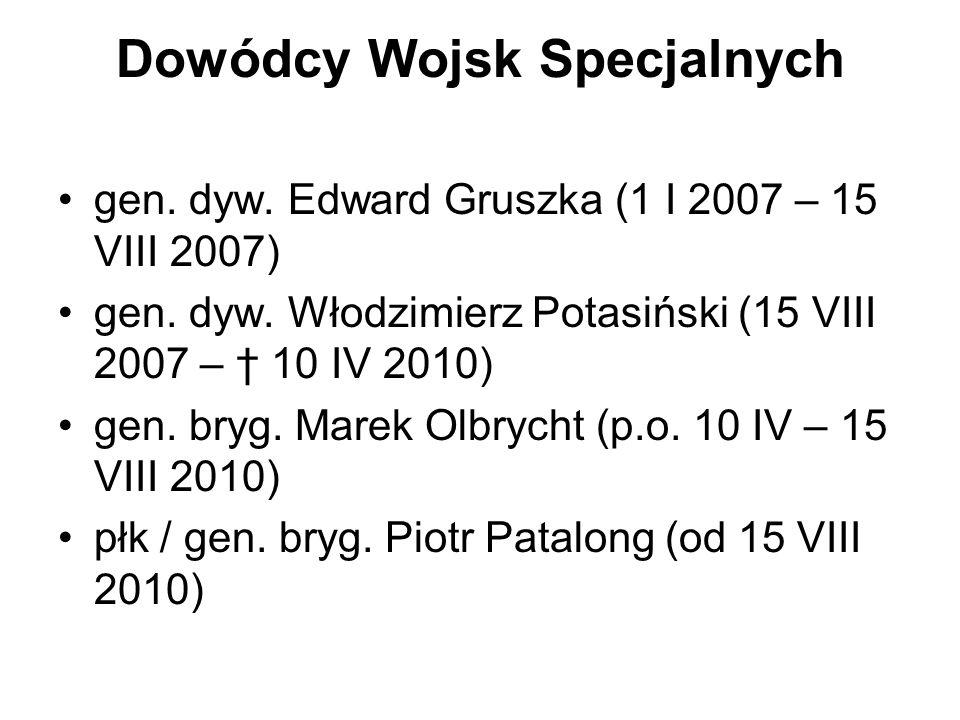 Dowódcy Wojsk Specjalnych gen. dyw. Edward Gruszka (1 I 2007 – 15 VIII 2007) gen. dyw. Włodzimierz Potasiński (15 VIII 2007 – 10 IV 2010) gen. bryg. M