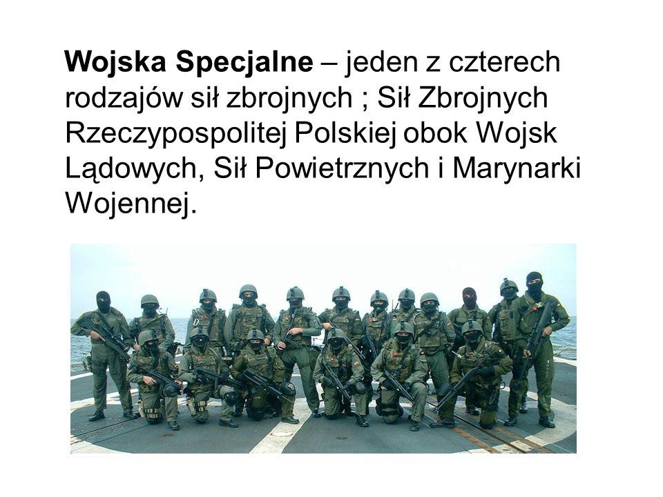 Wojska Specjalne – jeden z czterech rodzajów sił zbrojnych ; Sił Zbrojnych Rzeczypospolitej Polskiej obok Wojsk Lądowych, Sił Powietrznych i Marynarki