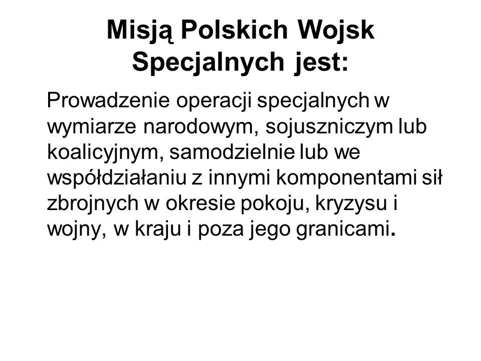 Misją Polskich Wojsk Specjalnych jest: Prowadzenie operacji specjalnych w wymiarze narodowym, sojuszniczym lub koalicyjnym, samodzielnie lub we współd
