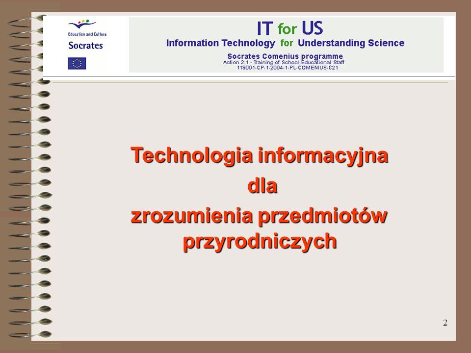 3 Socrates-Comenius programme Action 2.1 - Training of School Education Staff 1190001-CP-1-PL-COMENIUS-C21 2004 - 2007 IT for US