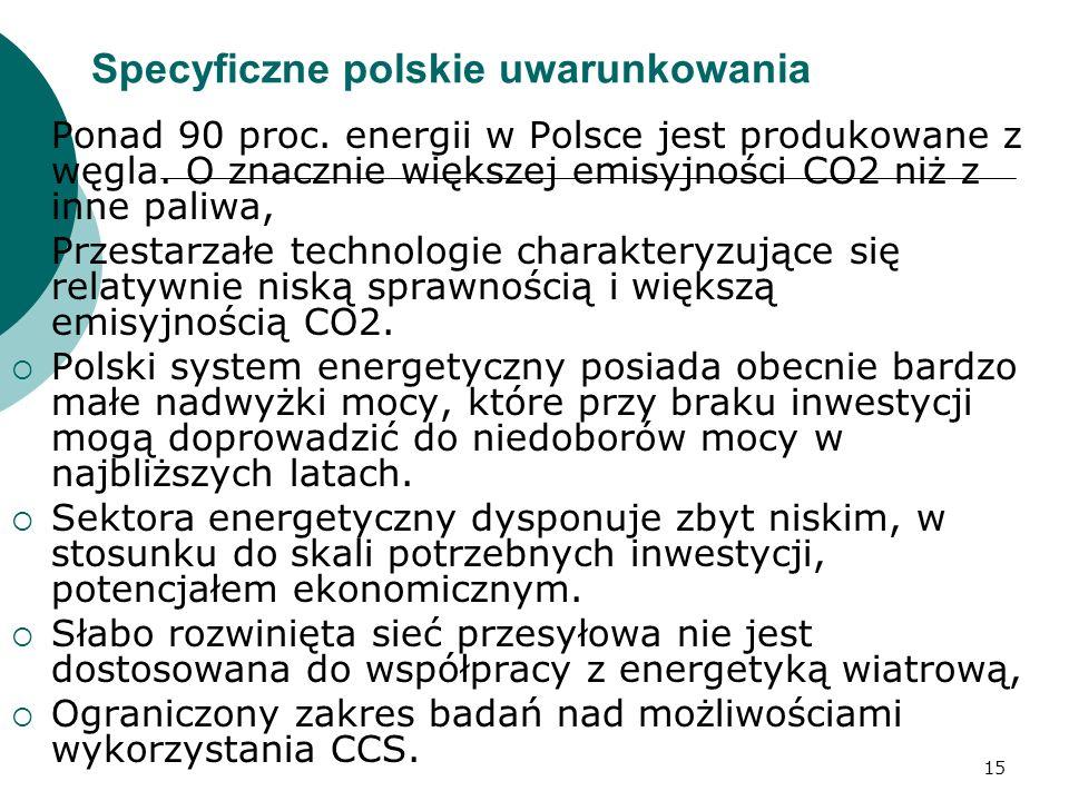 15 Specyficzne polskie uwarunkowania Ponad 90 proc. energii w Polsce jest produkowane z węgla. O znacznie większej emisyjności CO2 niż z inne paliwa,