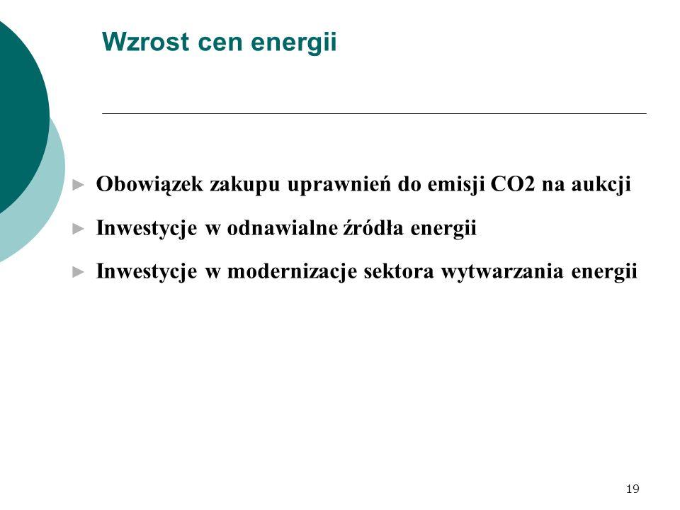 19 Wzrost cen energii Obowiązek zakupu uprawnień do emisji CO2 na aukcji Inwestycje w odnawialne źródła energii Inwestycje w modernizacje sektora wytw