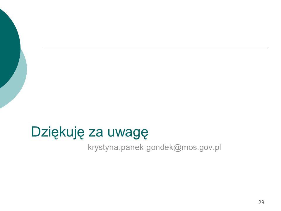 29 Dziękuję za uwagę krystyna.panek-gondek@mos.gov.pl