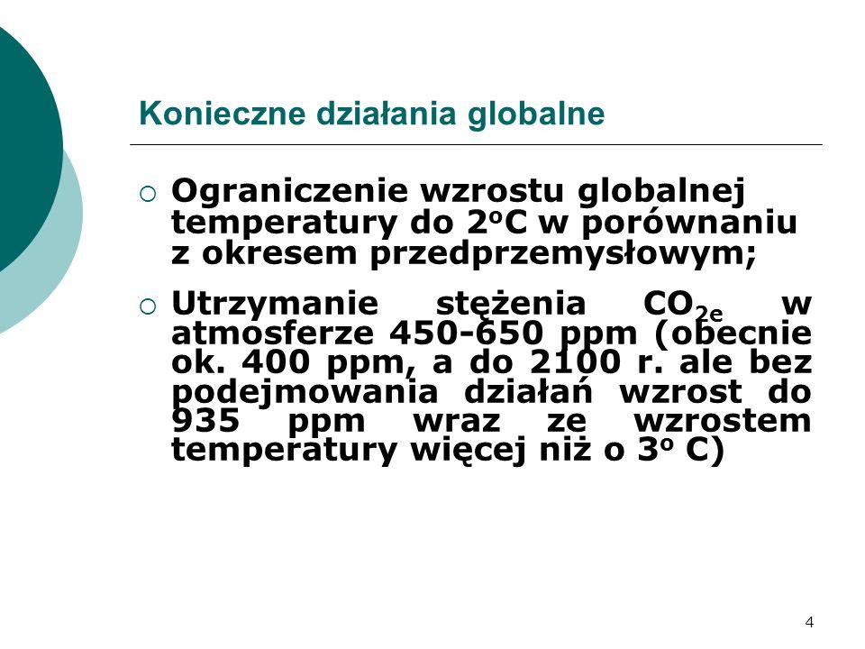 4 Konieczne działania globalne Ograniczenie wzrostu globalnej temperatury do 2 o C w porównaniu z okresem przedprzemysłowym; Utrzymanie stężenia CO 2e