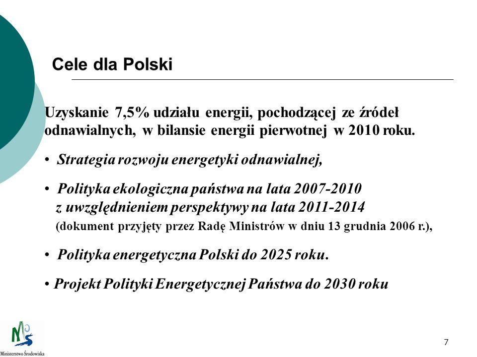 7 Cele dla Polski Uzyskanie 7,5% udziału energii, pochodzącej ze źródeł odnawialnych, w bilansie energii pierwotnej w 2010 roku. Strategia rozwoju ene