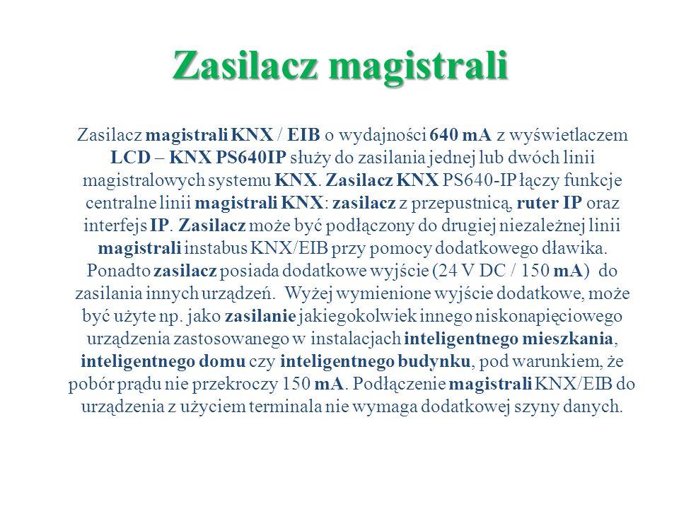 Zasilacz magistrali KNX / EIB o wydajności 640 mA z wyświetlaczem LCD – KNX PS640IP służy do zasilania jednej lub dwóch linii magistralowych systemu K