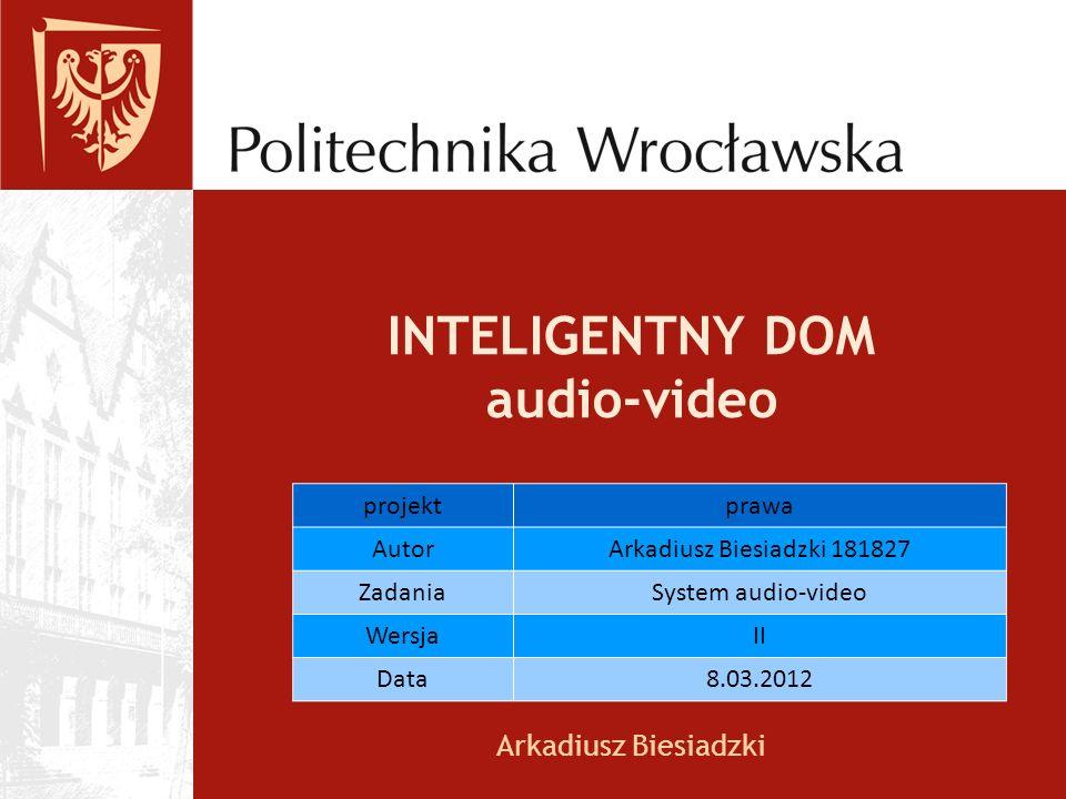 INTELIGENTNY DOM audio-video Arkadiusz Biesiadzki projektprawa AutorArkadiusz Biesiadzki 181827 ZadaniaSystem audio-video WersjaII Data8.03.2012