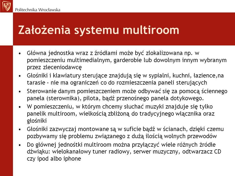 Założenia systemu multiroom Główna jednostka wraz z źródłami może być zlokalizowana np. w pomieszczeniu multimedialnym, garderobie lub dowolnym innym