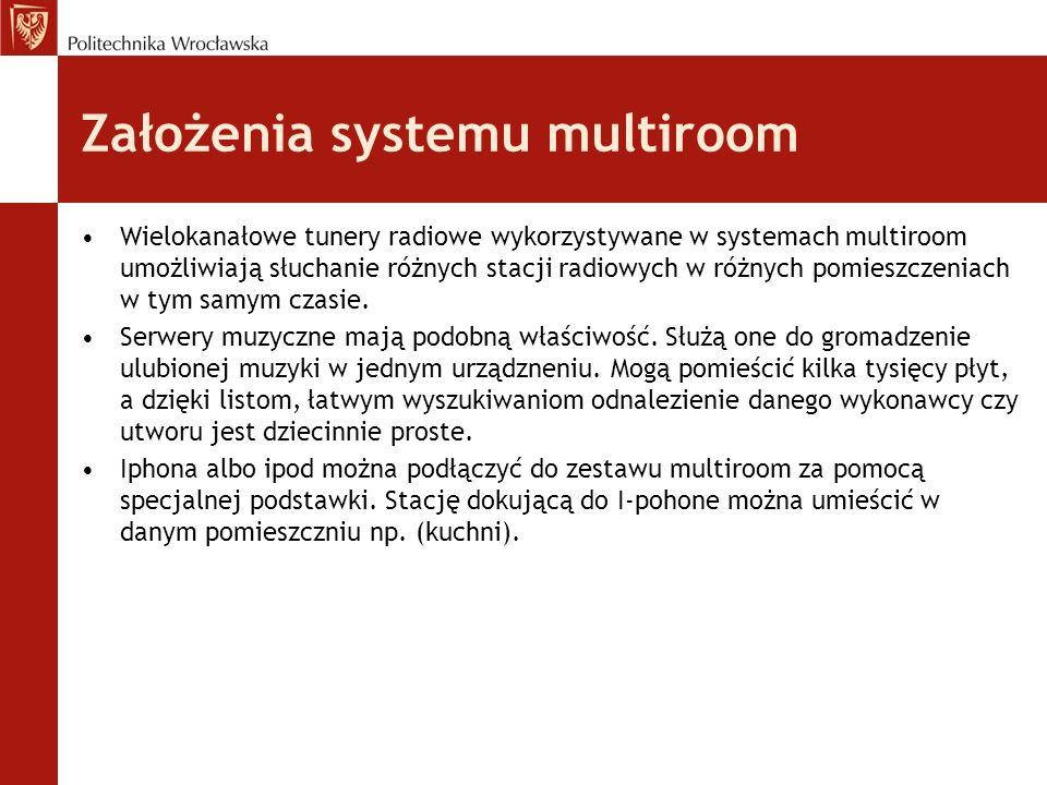 Założenia systemu multiroom Wielokanałowe tunery radiowe wykorzystywane w systemach multiroom umożliwiają słuchanie różnych stacji radiowych w różnych