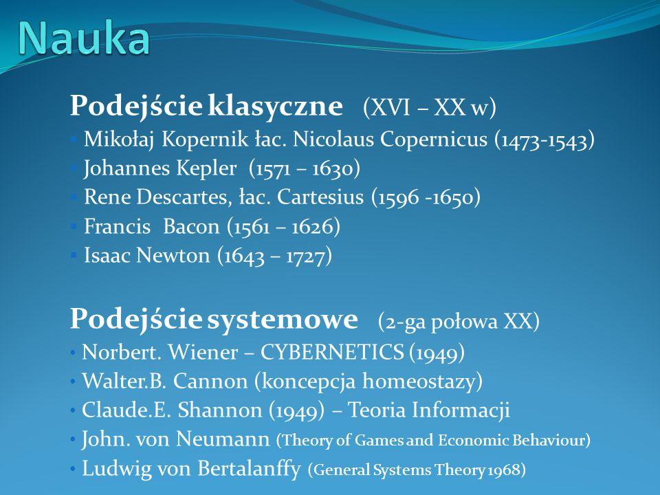 Podejście klasyczne (XVI – XX w) Mikołaj Kopernik łac. Nicolaus Copernicus (1473-1543) Johannes Kepler (1571 – 1630) Rene Descartes, łac. Cartesius (1