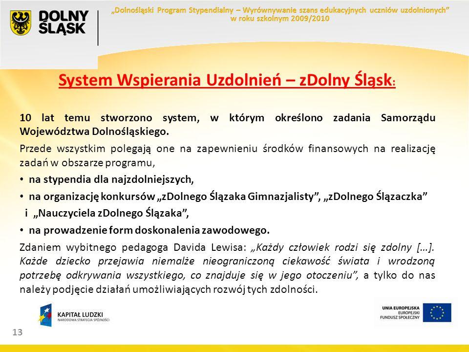 13 System Wspierania Uzdolnień – zDolny Śląsk : 10 lat temu stworzono system, w którym określono zadania Samorządu Województwa Dolnośląskiego.